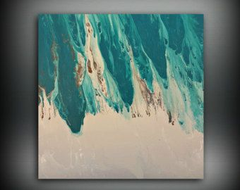 Original painting art acrylic abstract teal wall hanging extra large xl also rh pinterest