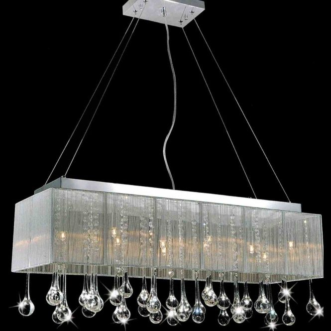 48 Gocce Modern String Shade Crystal Rectangular Chandelier Chrome With Black White Silver 17 Lights