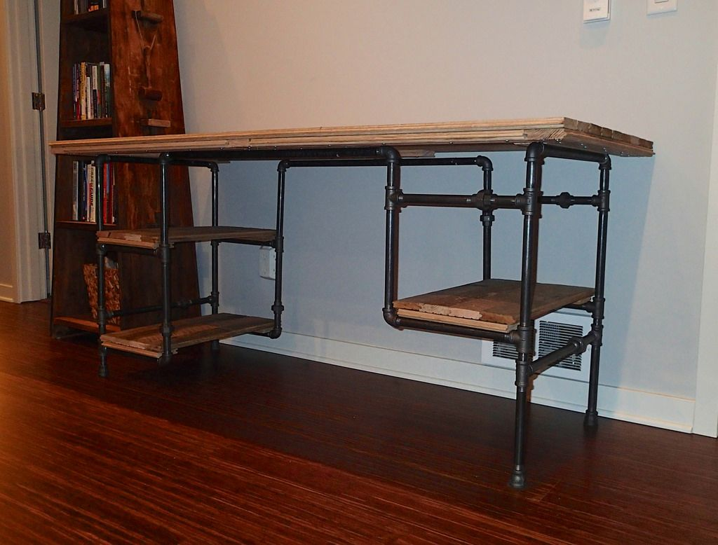 iron pipe desk  Google Search  The Office  Pinterest