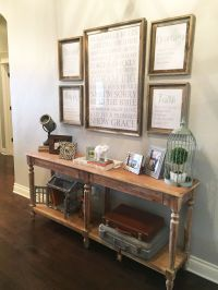 Entry way table decor. Console table decorations. Entry ...