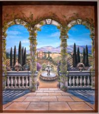 Tuscan Arches with vineyards mural | Marvelous Murals ...