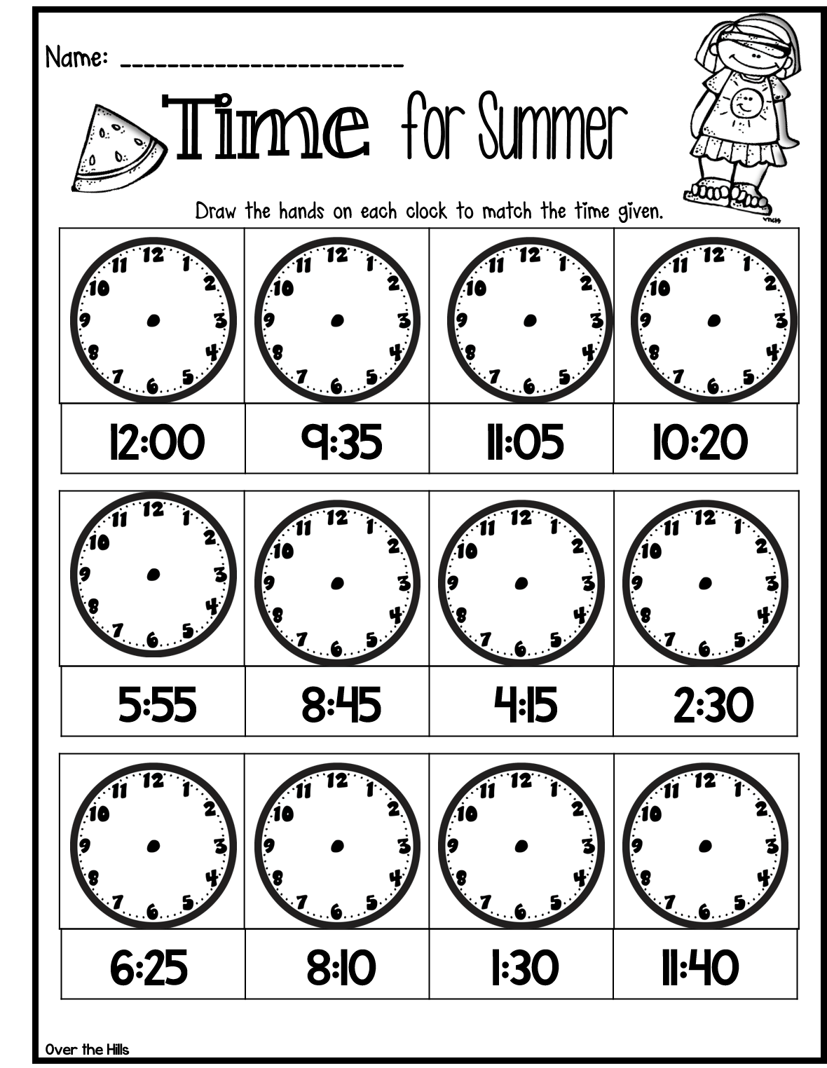 Quick Assessment Or Time Filler For Telling Time Great