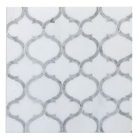 White Thassos & Carrara Marble Arabesque Marrakesh ...