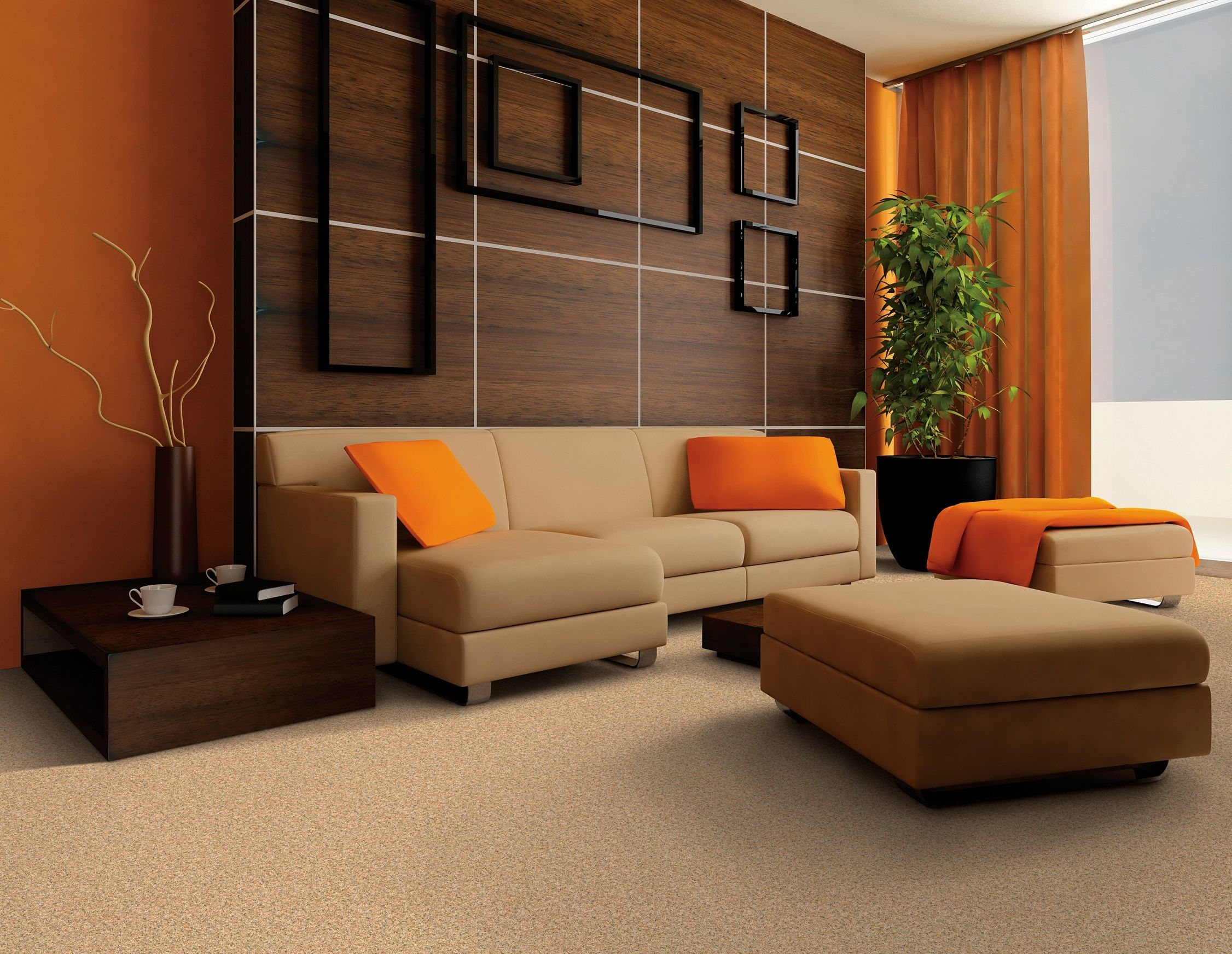 colors to brighten up a bedroom | orange, living rooms and brown walls