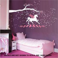 Unicorn fantasy girls bedroom wall art sticker vinyl decal