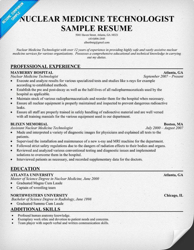 Nuclear Medicine Technologist Resume Free Resume