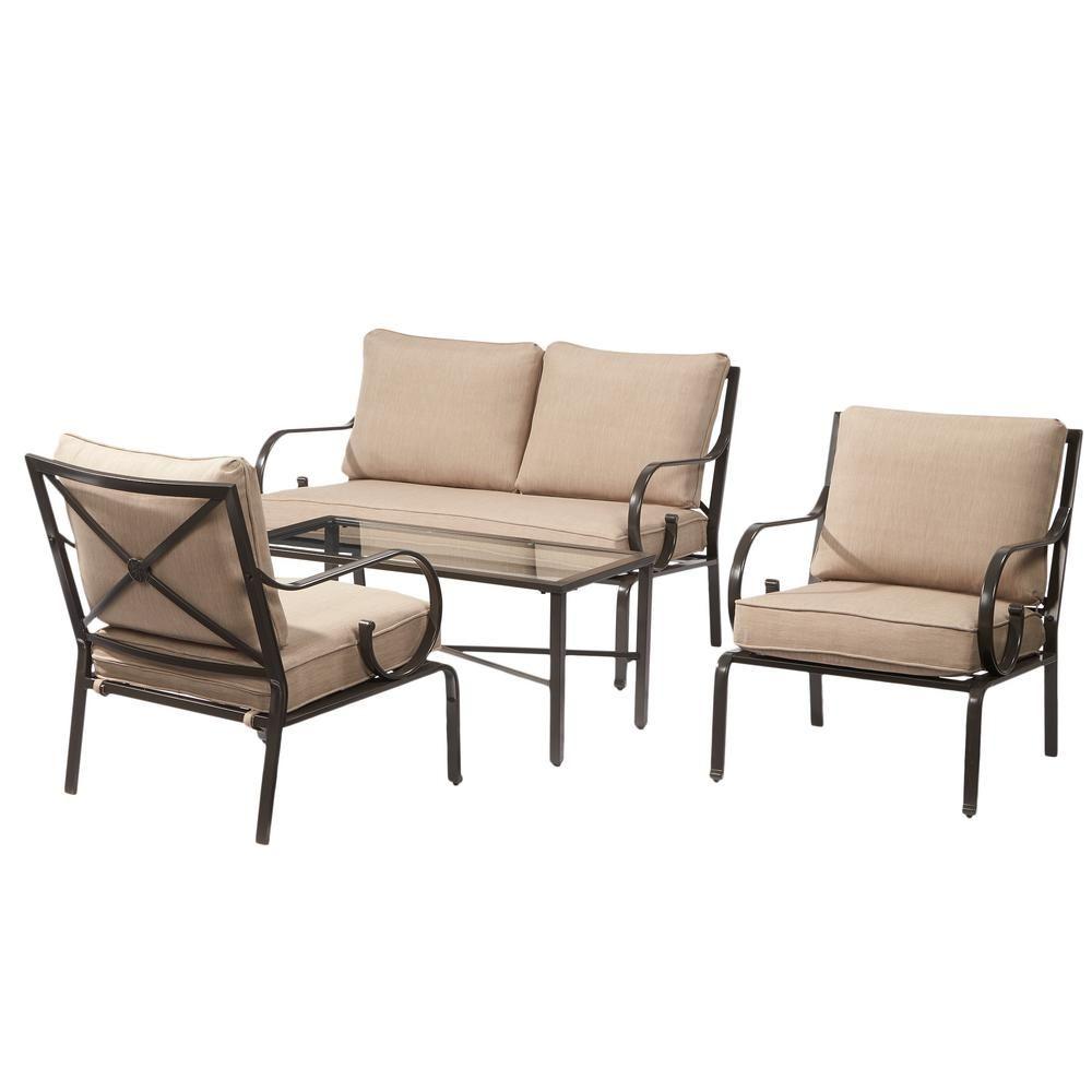 Hampton Bay Granbury 4Piece Metal Patio Seating Set with