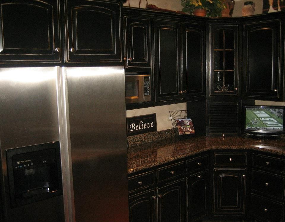 Black Distressed Kitchen Cabinets  Black Distressed