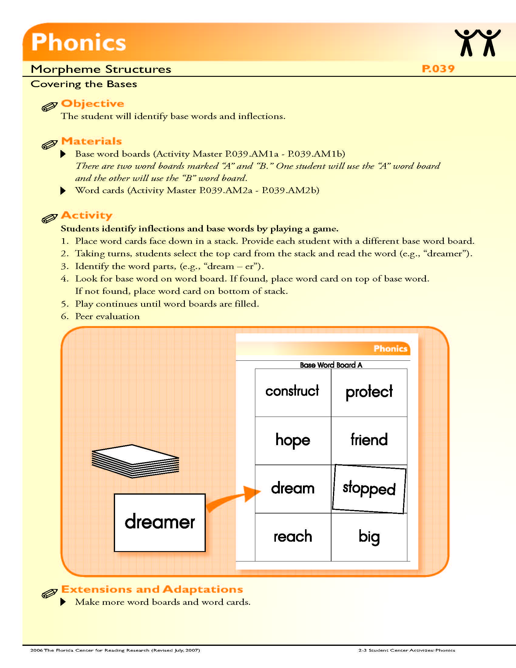 The Student Will Identify Base Words And Inflections