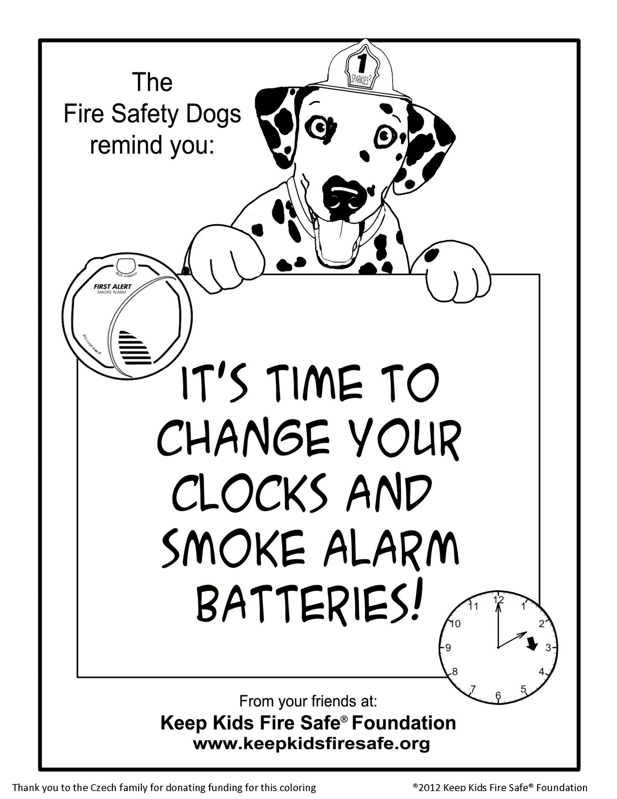 Sparkles the Fire Safety Dog: New Coloring Page,