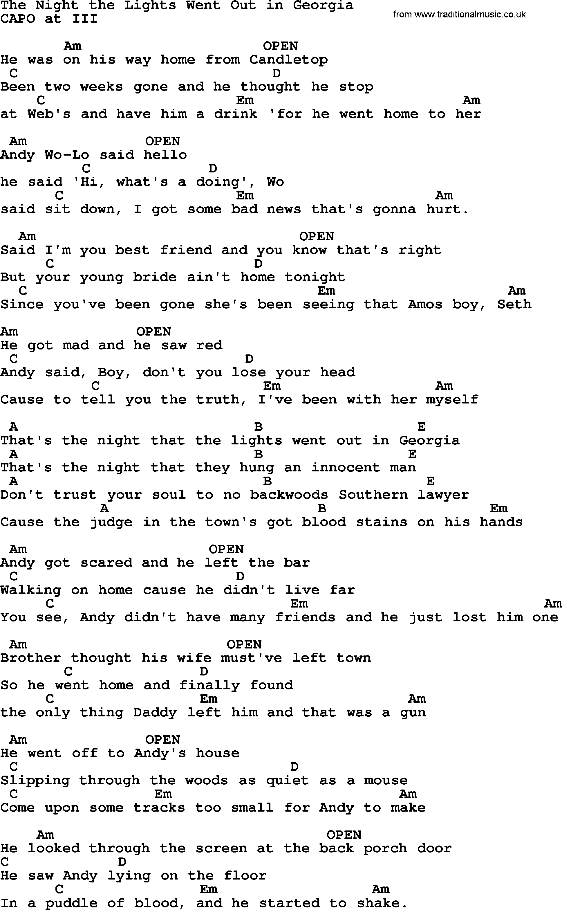 Reba Mcentire Night Lights Went Out Lyrics
