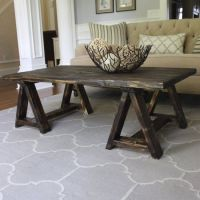DIY this awesome sawhorse coffee table for under $25! | My ...