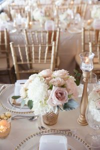 Soft blush pink and gold wedding flowers and decor ...