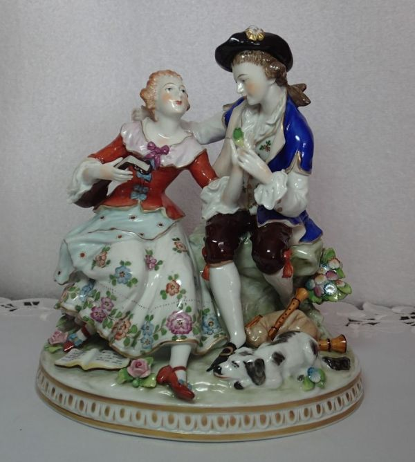 Antique German Sitzendorf Dresden Couple Porcelain
