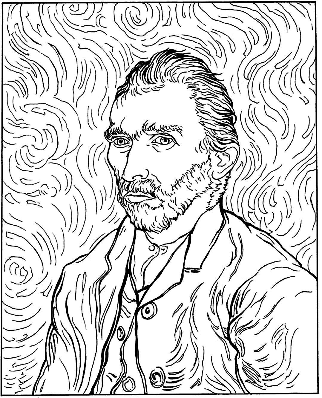 Free coloring page coloring-adult-van-gogh-autoportrait