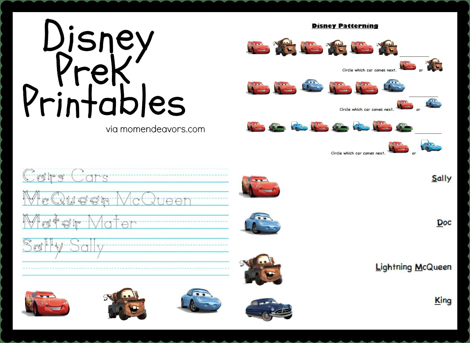 Disney Pixar Cars Prek Printable Activity Sheets Disney