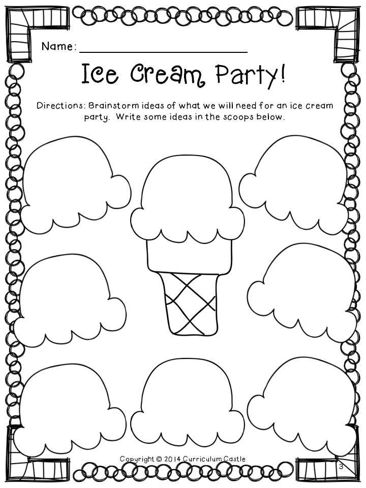 FREEBIE!!! Let's plan an ice cream party! Ice cream scoop