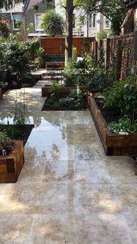 travertine paving patio garden wandsworth london raised ...