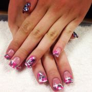 awesome pink camo nails