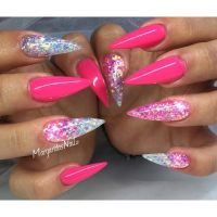 Pink and glitter ombr stiletto nails summer nail design