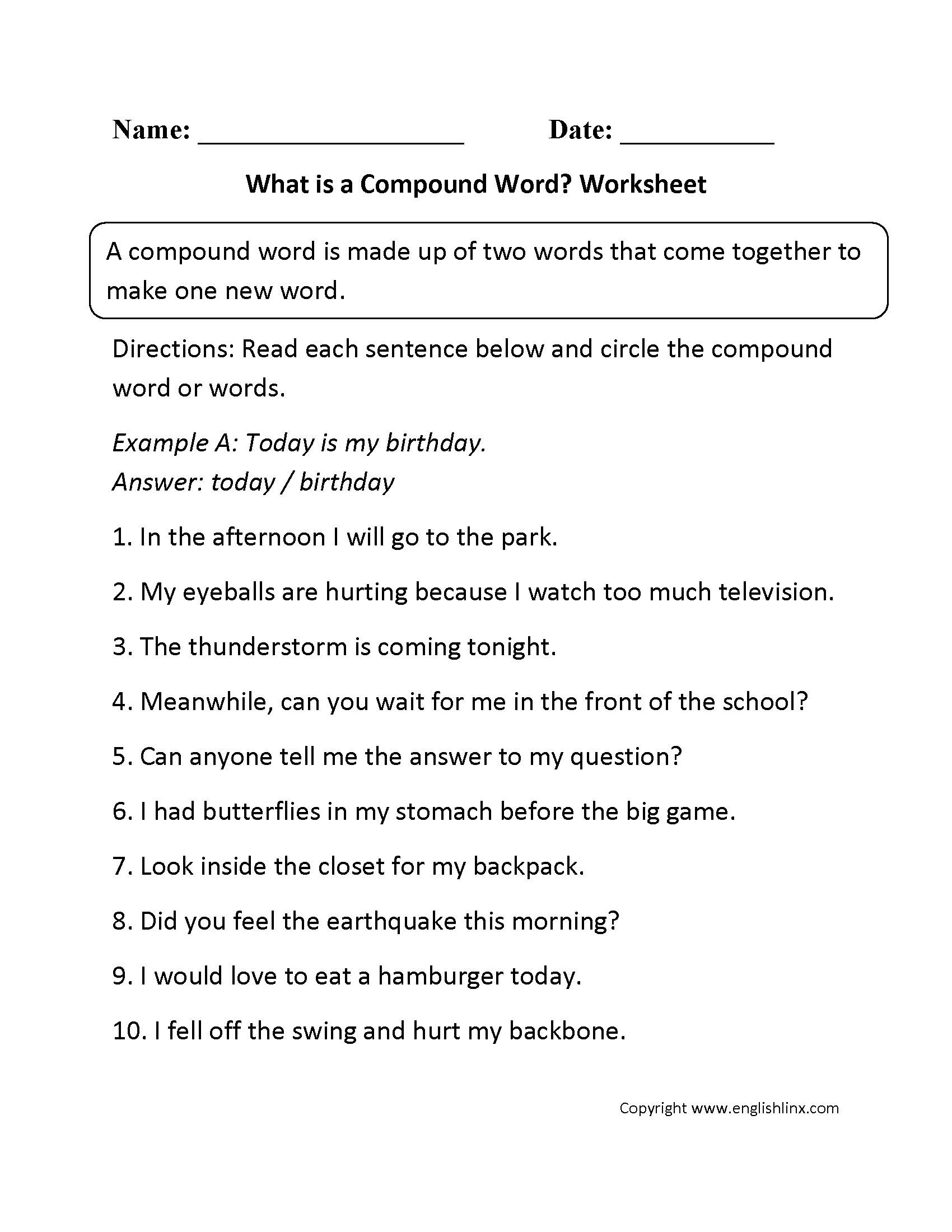 What Is A Compound Word Worksheets