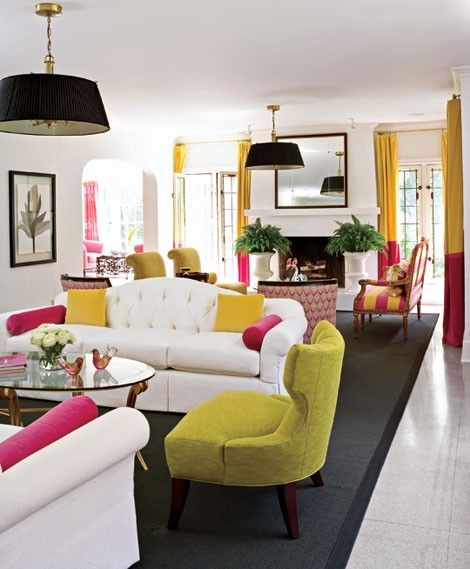 Really cool colorful living room with white sofa and two tone yellow pink curtains so happy also this is how to add pops of color bachelorz pinterest rh
