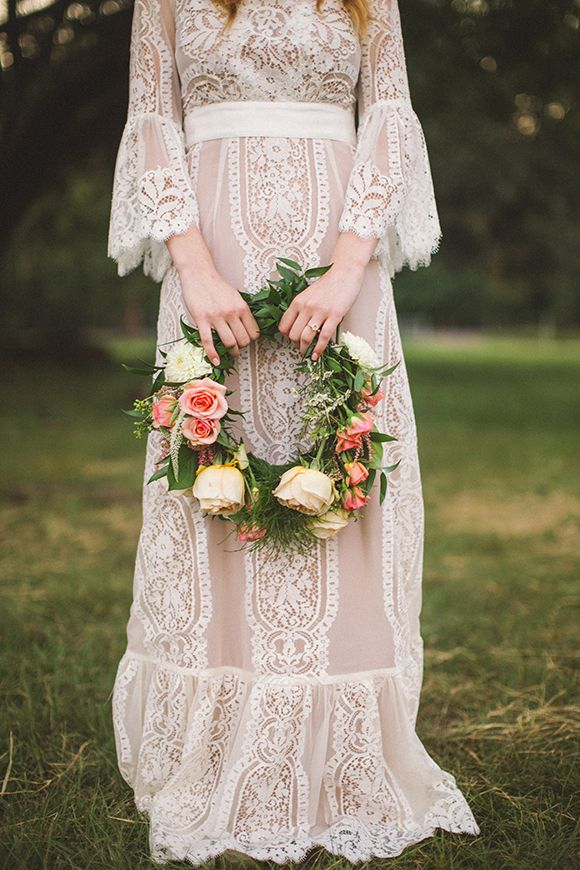 Stunning Vintage Hippie Wedding Gown Flower Child  Retro