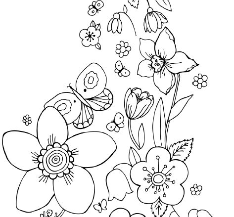 butterflies and flowers coloring page - coloration - Coloring Page Butterfly Flower