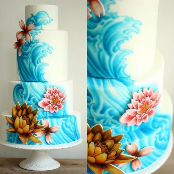 Airbrush Wedding Cake Designs