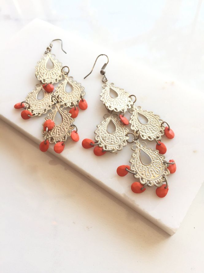 Silver Orange Chandelier Earrings