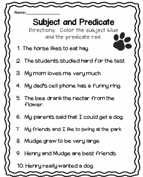small resolution of Subject and Predicate Worksheet   Subject and predicate