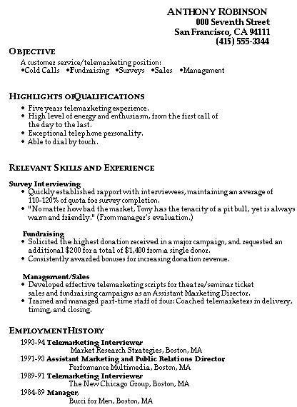 Resume Sample For Customer Service
