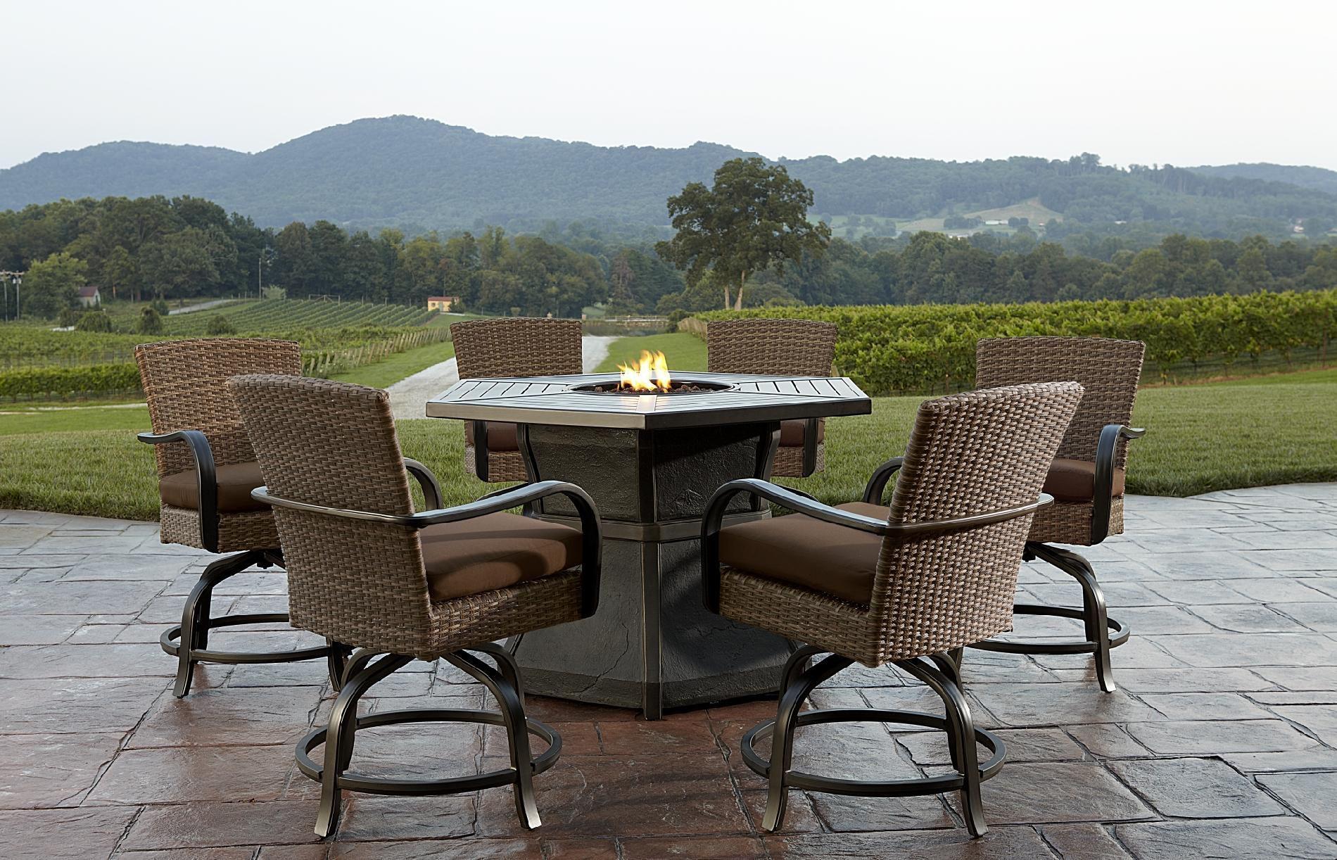 Agio Corseca 7 Piece Bar Set with Firepit Table  158499