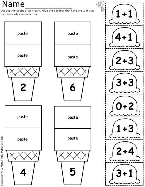 Math Scoops! Color, cut and paste the ice cream scoop onto