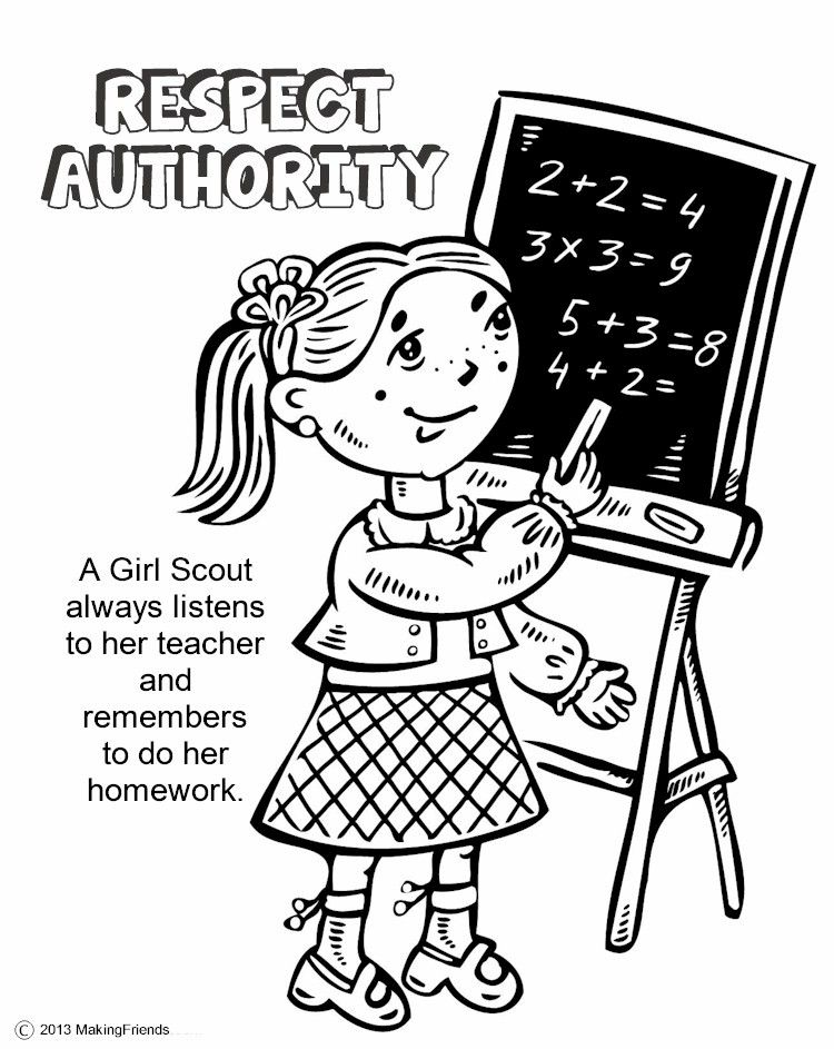 Girl Scouts Respect Authority. Print all the pages to make