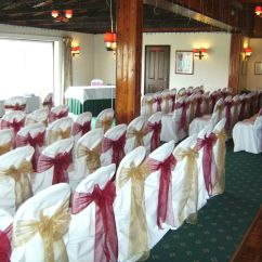 Burgundy Chair Covers Wedding Lightweight Beach Backpack Alternating And Gold Organza Bows On White