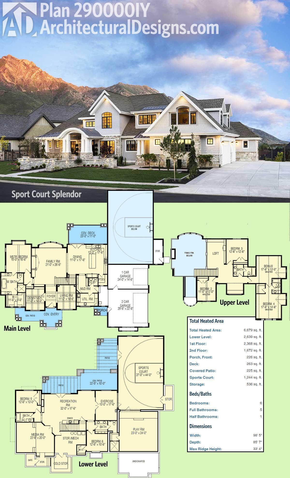 Plan 290000IY: Sport Court Splendor