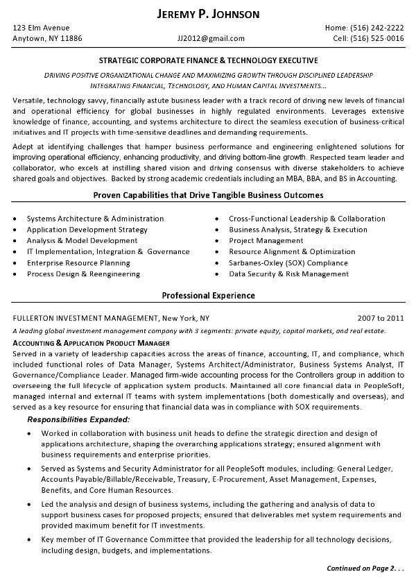 Resume Sample Finance Tech Executive Page 1 Resume For Someone