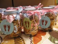 favors I made for Vanessa's baby shower...Mason jars ...