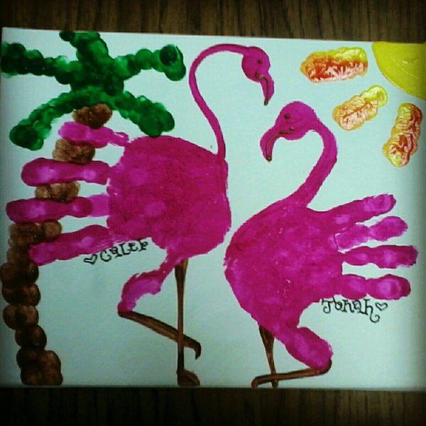 Handprint Flamingo Artsy Craft And Footprints