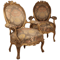 Pair of French Louis XV Style Rococo Revival Gilt Fauteuil ...