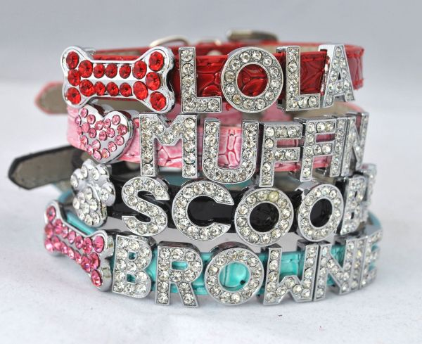Personalized Blue Small Bling Dog Collar Animals