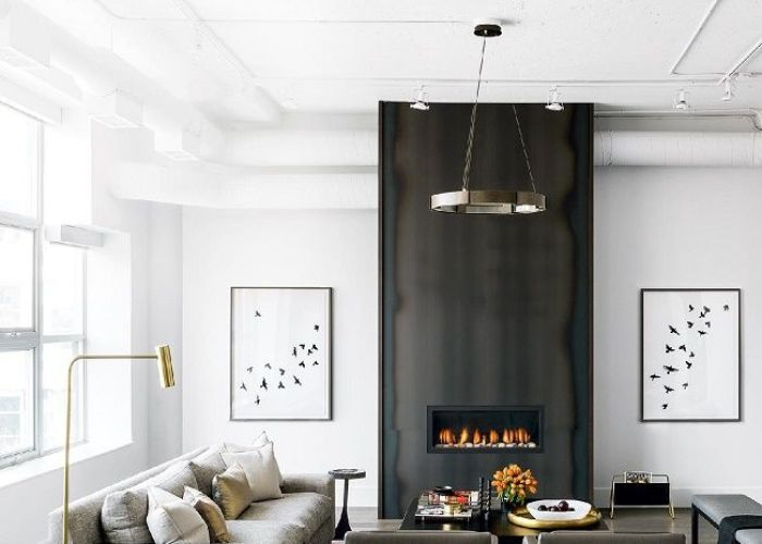 Grey neutral colour pop brass also best images about jamie   feature wall on pinterest better