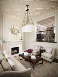 living room with quatrefoil pattern ceiling, marble ...