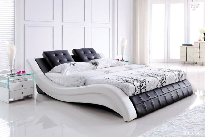E Furniture Sydney Warehouse Online Super Modern White Mix Black Leather Queen Bed