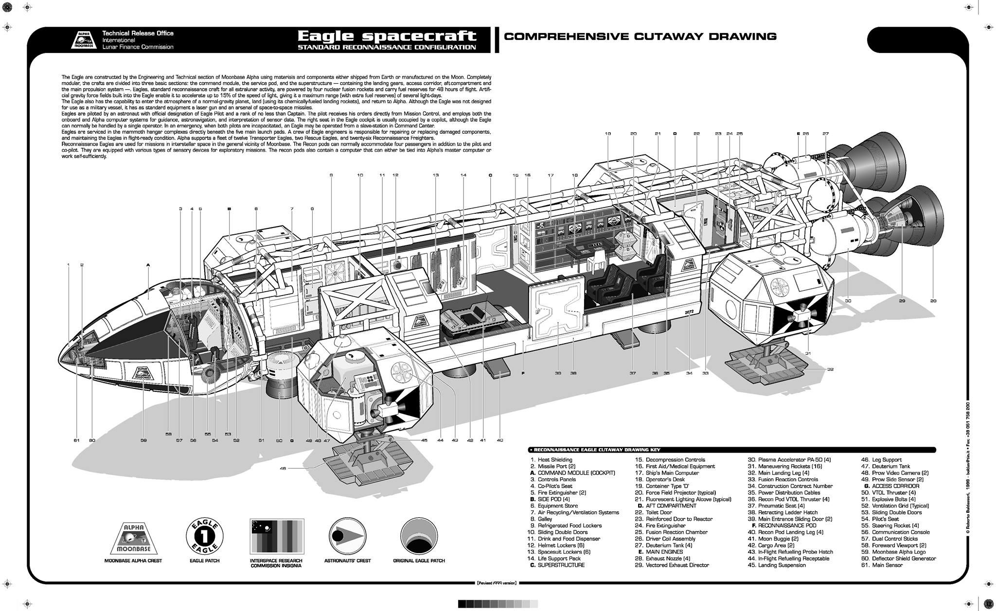 spaceship cutaway diagram meyer home plow wiring highly detailed illustration of the eagle