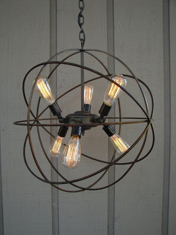 Light Fixture Made From Pulley Upcycled Orbital Chandelier With Filament Edison By Benclifdesigns