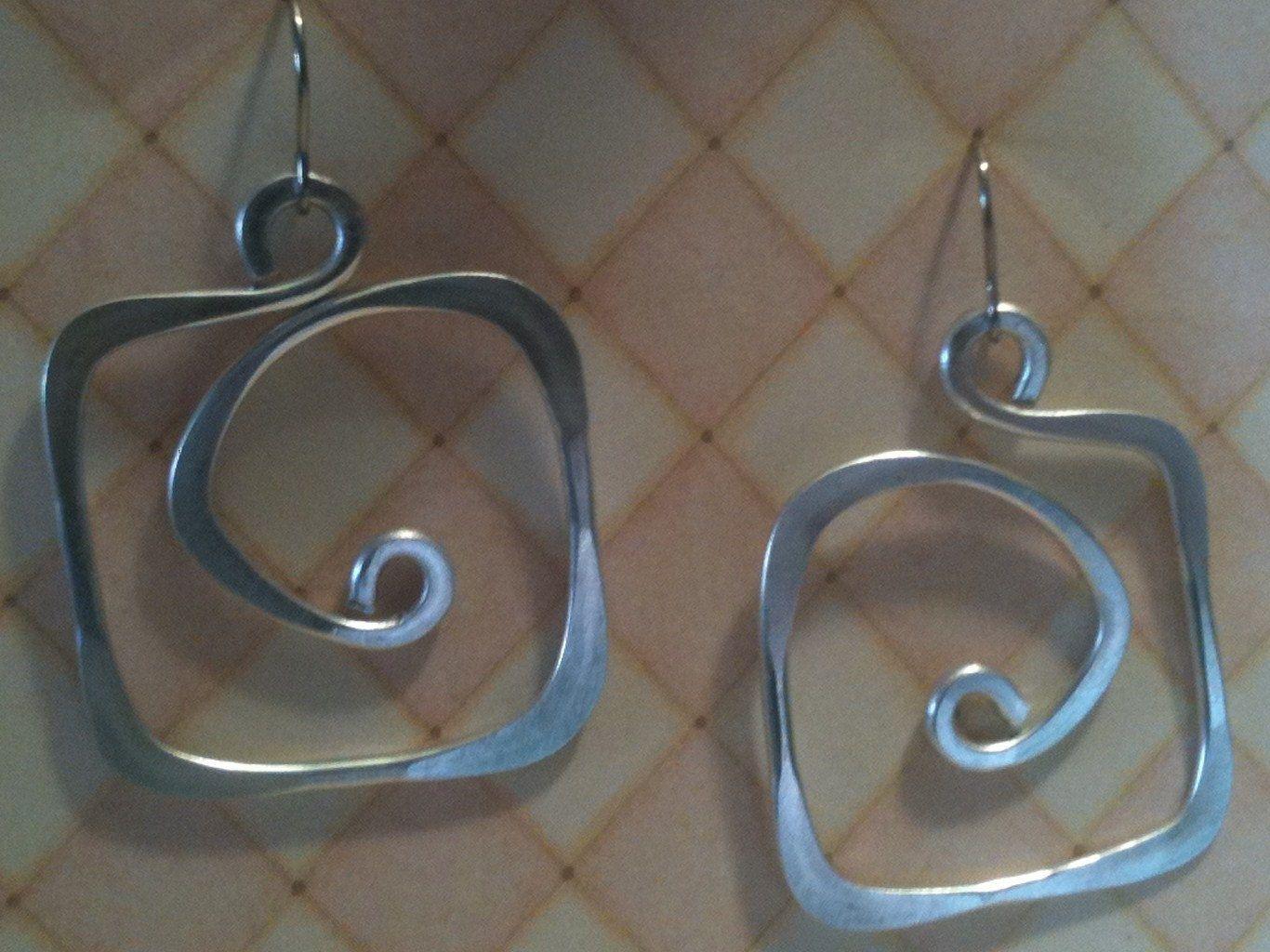 Aluminum Wire Jewelry Earrings Square Hoops Lightweight