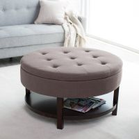 Belham Living Coffee Table Storage Ottoman with Shelf ...