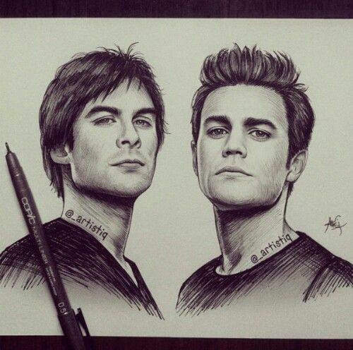 Diaries Damon Drawings Vampire Pencil